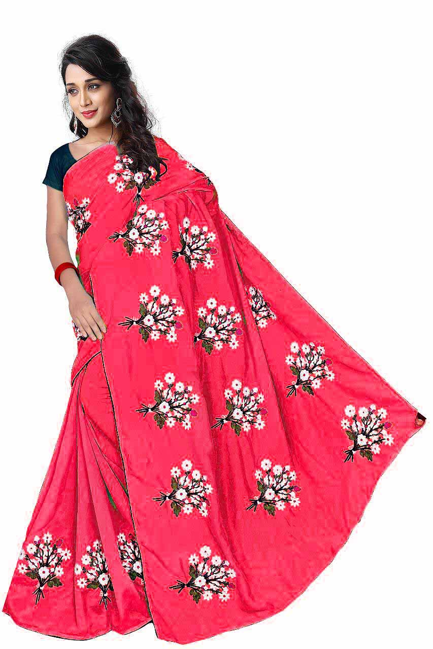 WOMEN SAREE WITH BLOUSE-PINK-DF GULDASTA 2019