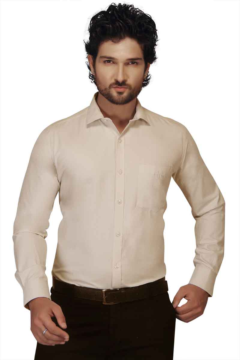 HARDIK 01-LIGHT CREAM FORMAL SHIRT