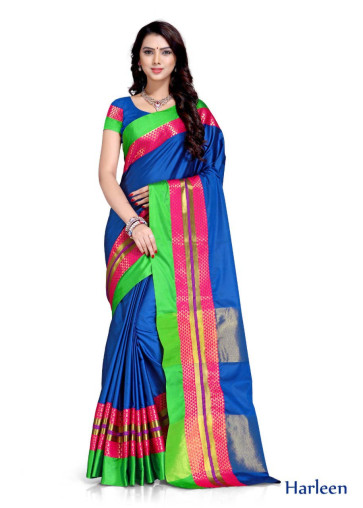 WOMEN SAREE WITH BLOUSE-BLUE-SP HARLEEN  02