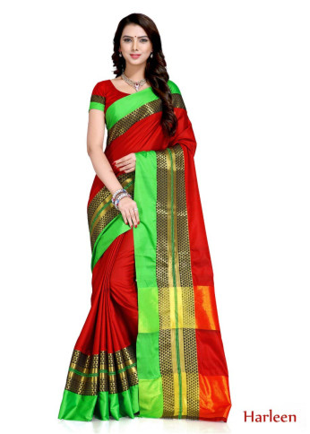 WOMEN SAREE WITH BLOUSE-RED-SP HARLEEN  02
