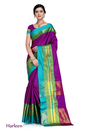 WOMEN SAREE WITH BLOUSE-VOILET-SP HARLEEN  02