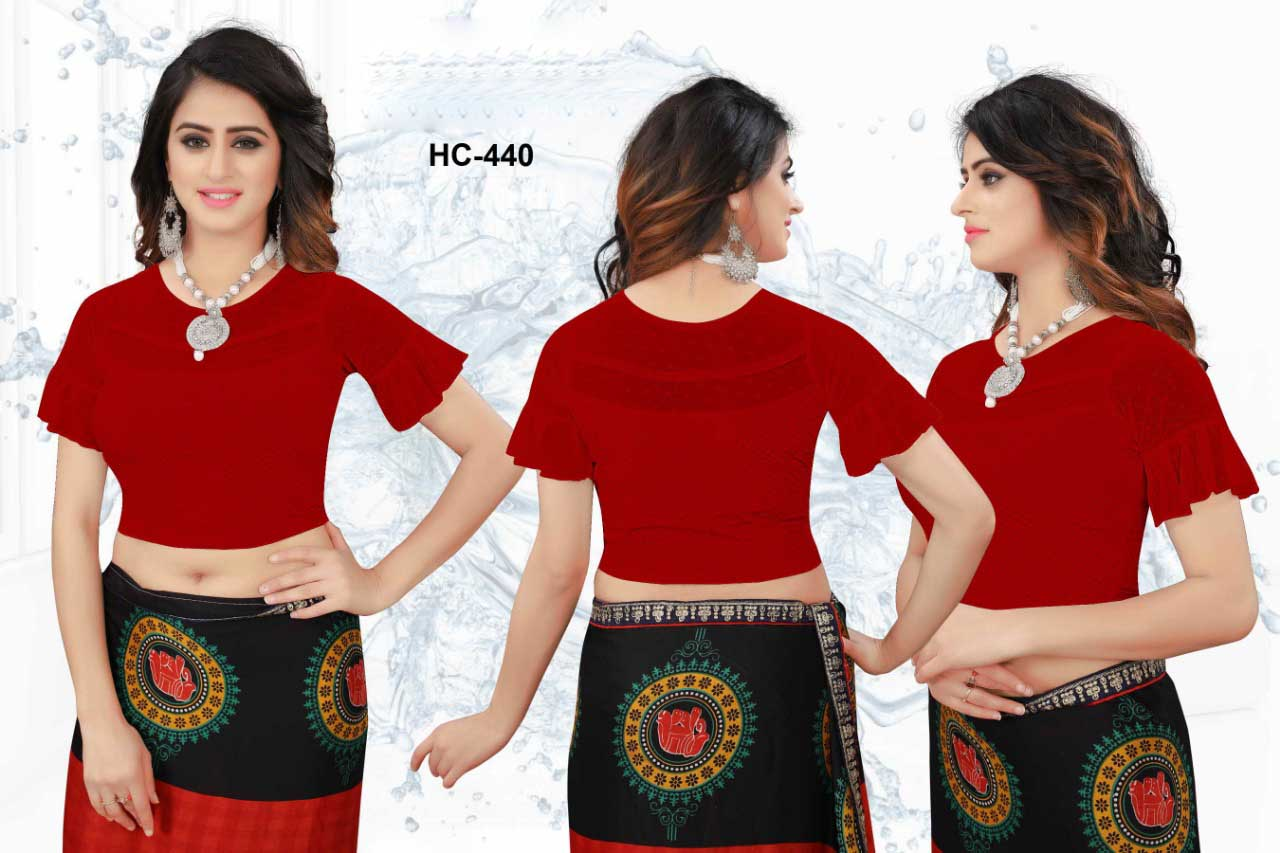 HC JULY 440-MAHROON WMN READYMADE BLOUSE