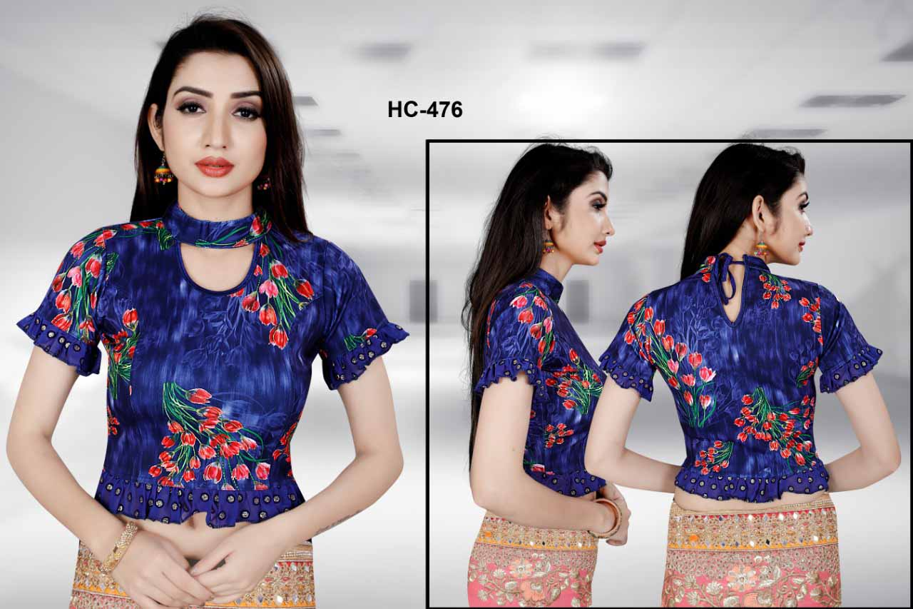 HC JULY 476-BLUE WMN READYMADE BLOUSE