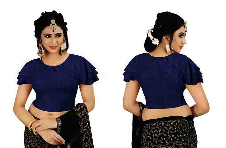 FANCY HC-63-BLUE HALF SLEEVES THREE LAYER FANCY SAREE BLOUSE
