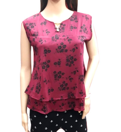 WOMEN TOP-MAROON-HT FANCY TOP 03