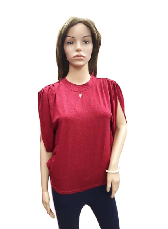 WOMEN TOP-MAROON-HT FANCY TOP 04