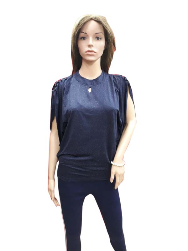 WOMEN TOP-NAVY BLUE-HT FANCY TOP 04
