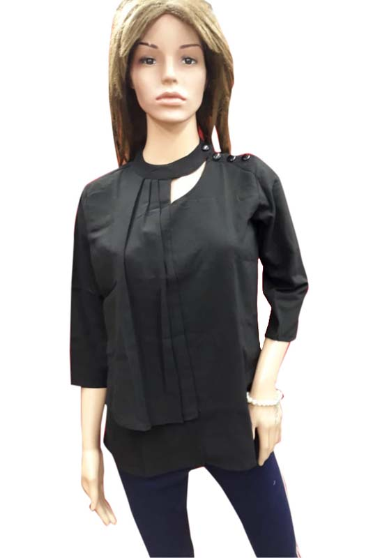 WOMEN TOP-BLACK-HT FANCY TOP 05