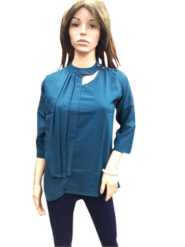 WOMEN TOP-BOTTLE GREEN-HT FANCY TOP 05