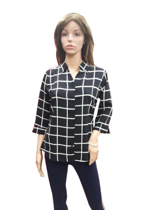 WOMEN TOP-BLACK CHECK-HT FANCY TOP 11