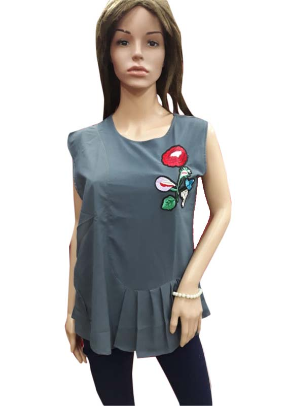 WOMEN TOP-GRAY-HT FANCY TOP 14