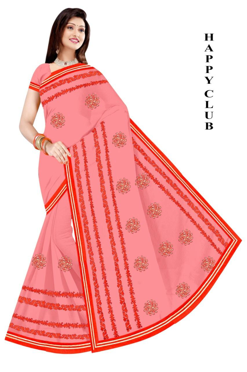 WOMEN SAREE WITH BLOUSE-LIGHT PINK-DF HAPPY CLUB 2019