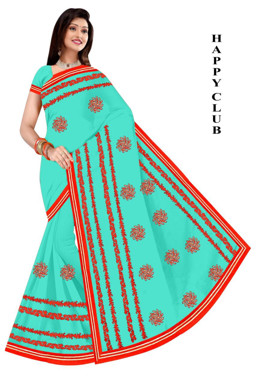 WOMEN SAREE WITH BLOUSE-SEA GREEN-DF HAPPY CLUB 2019