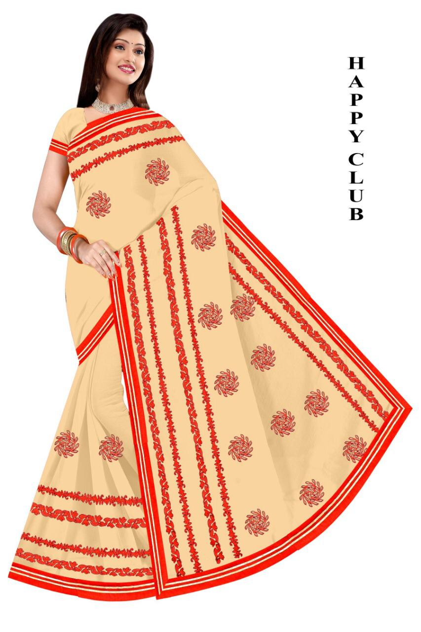 WOMEN SAREE WITH BLOUSE-CREAM-DF HAPPY CLUB 2019