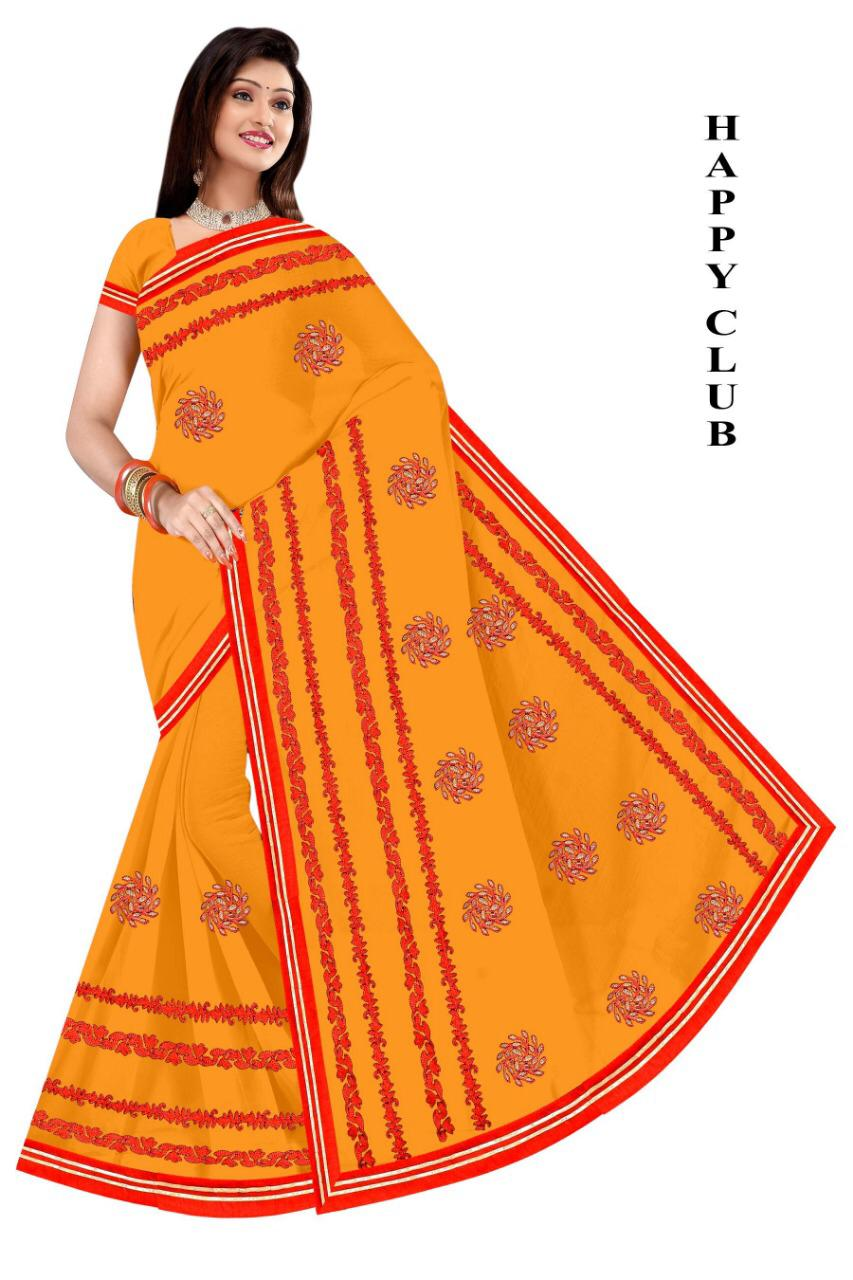 WOMEN SAREE WITH BLOUSE-YELLOW-DF HAPPY CLUB 2019