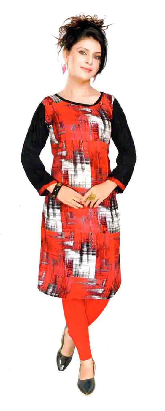 SKT HAPPY 01-RED RAYON FULL SLEEVES KURTI