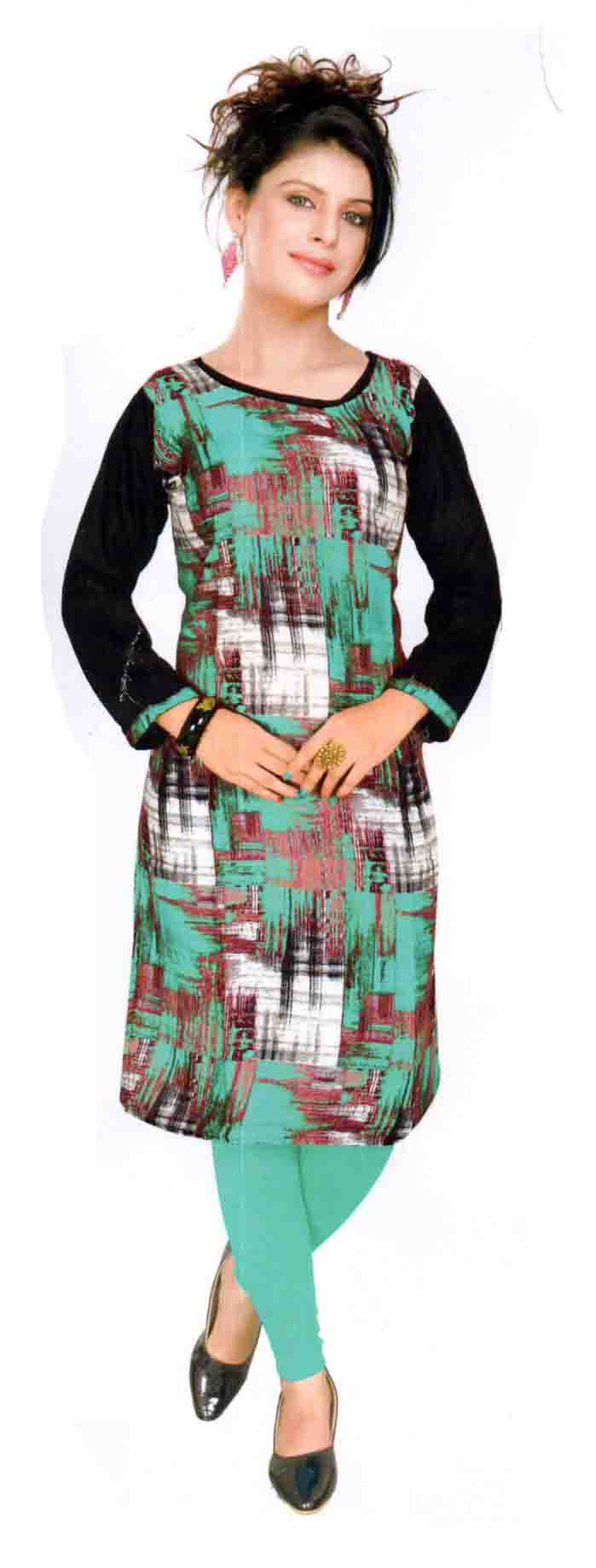 SKT HAPPY 01-SEA GREEN  RAYON FULL SLEEVES KURTI