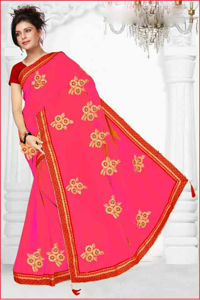 WOMEN SAREE WITH BLOUSE-PINK-DF HEROINE 01