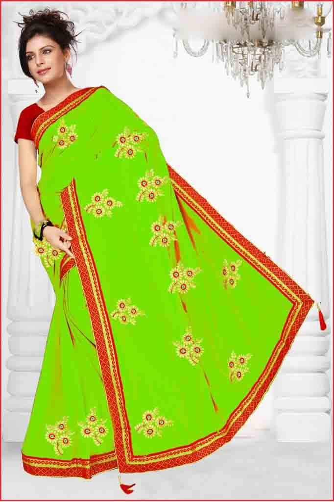 WOMEN SAREE WITH BLOUSE-PARROT GREEN-DF HEROINE 01