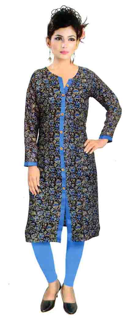 SKT HULCHUL 01-BLUE RAYON FULL SLEEVES KURTI