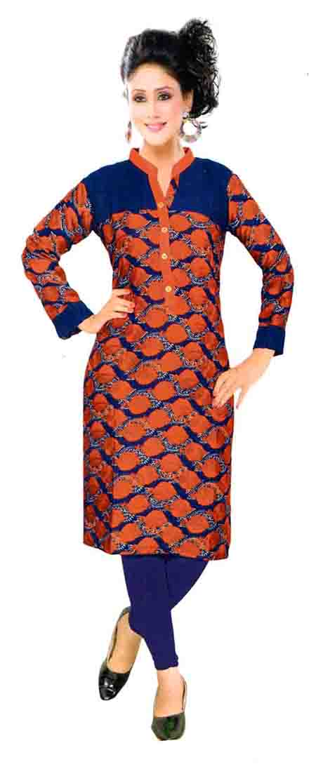 SKT HULCHUL 01-NAVY RED RAYON FULL SLEEVES KURTI