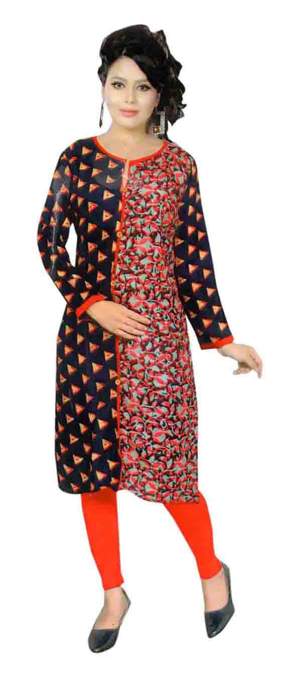 SKT HULCHUL 01-RED PINK RAYON FULL SLEEVES KURTI