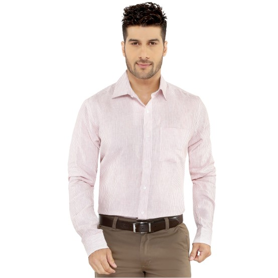 Peach & White Stripes Formal Shirt