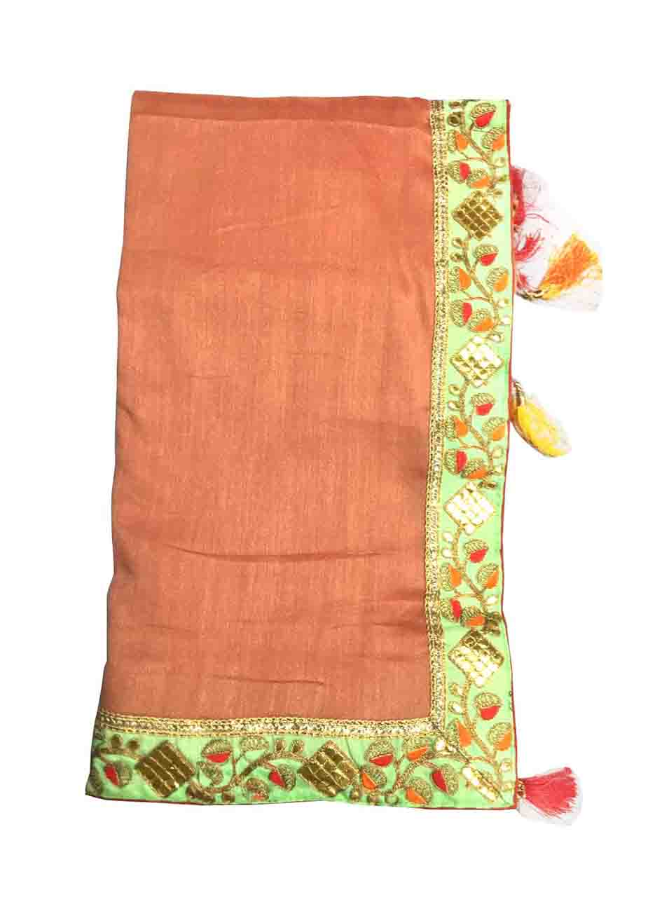 WOMEN SAREE WITH BLOUSE-PEACH-DF JASLEEN