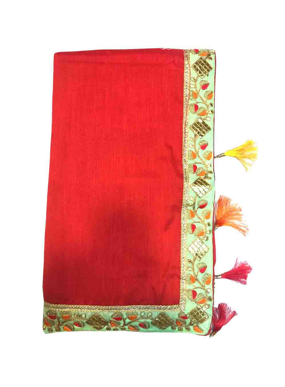 WOMEN SAREE WITH BLOUSE-RED-DF JASLEEN