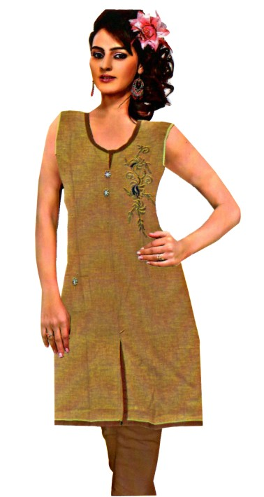 JASMINE 10664 - Light Brown Cotton Stitched Kurti