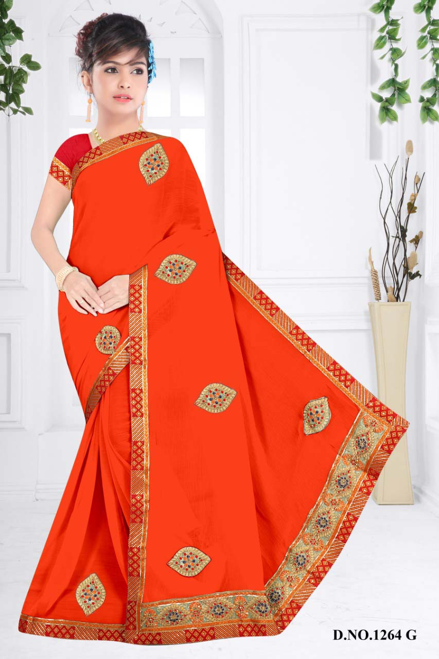 WOMENS SAREE WITH BLOUSE-ORANGE-WS SEP JHALAK 2019