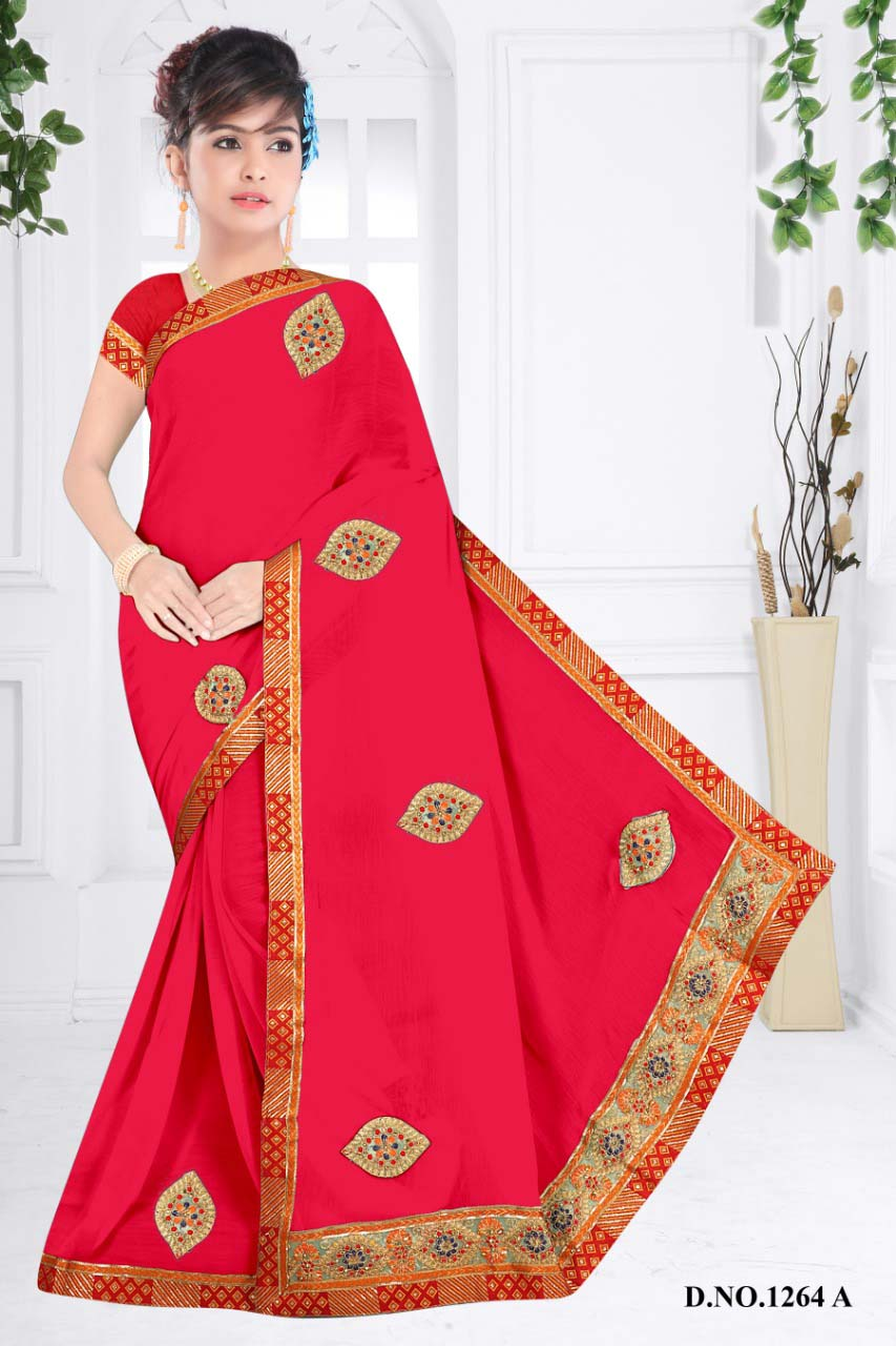 WOMENS SAREE WITH BLOUSE-DARK PINK-WS SEP JHALAK 2019