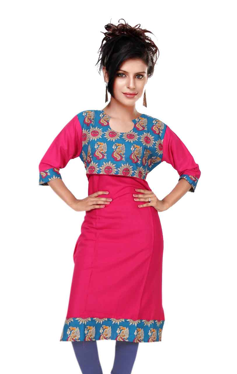 KALAMKARI DNO 4504-PINK COTTON SLUB WITH FULL SLEEVES  KURTI