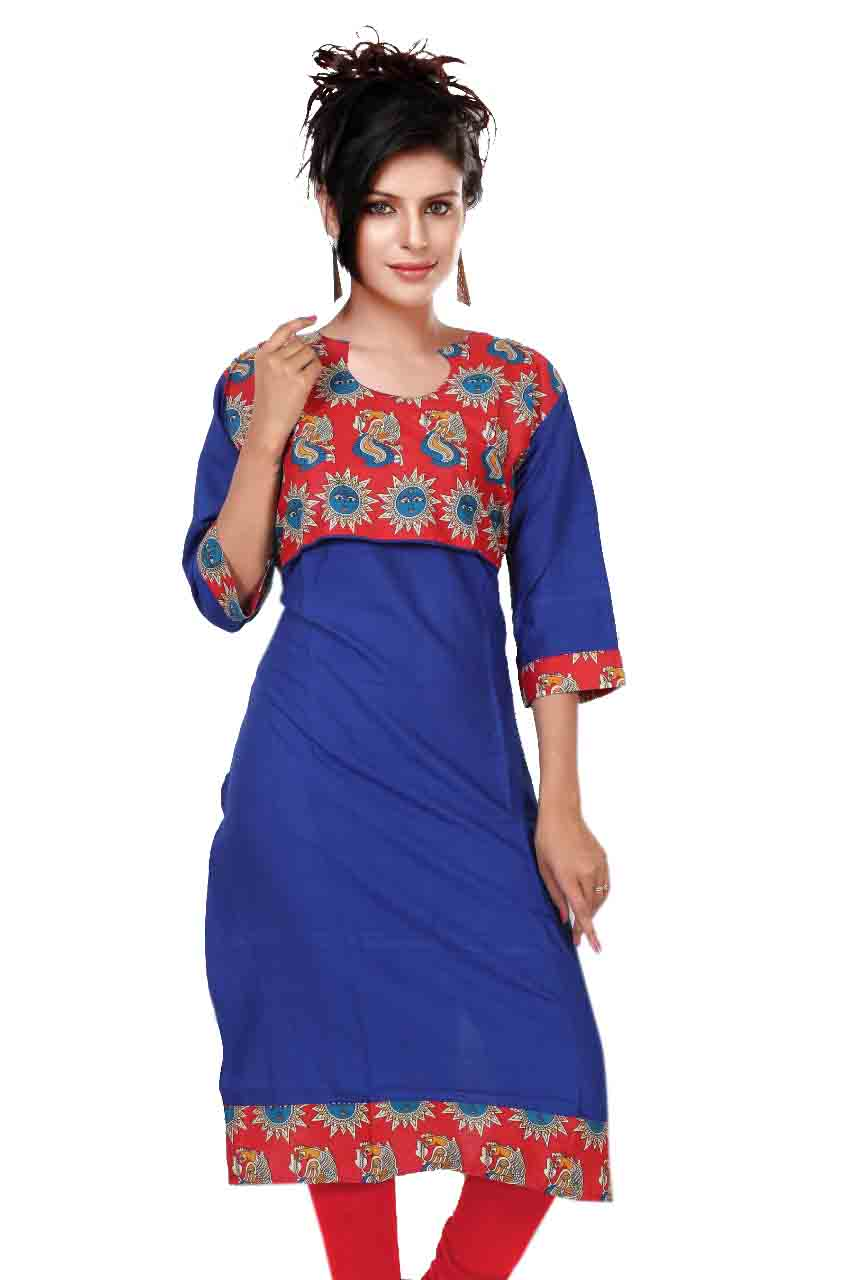 KALAMKARI DNO 4504-ROYAL BLUE COTTON SLUB WITH FULL SLEEVES  KURTI