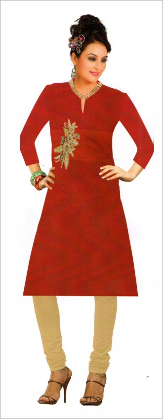 Anushka - Red Plain Georgette Kurti