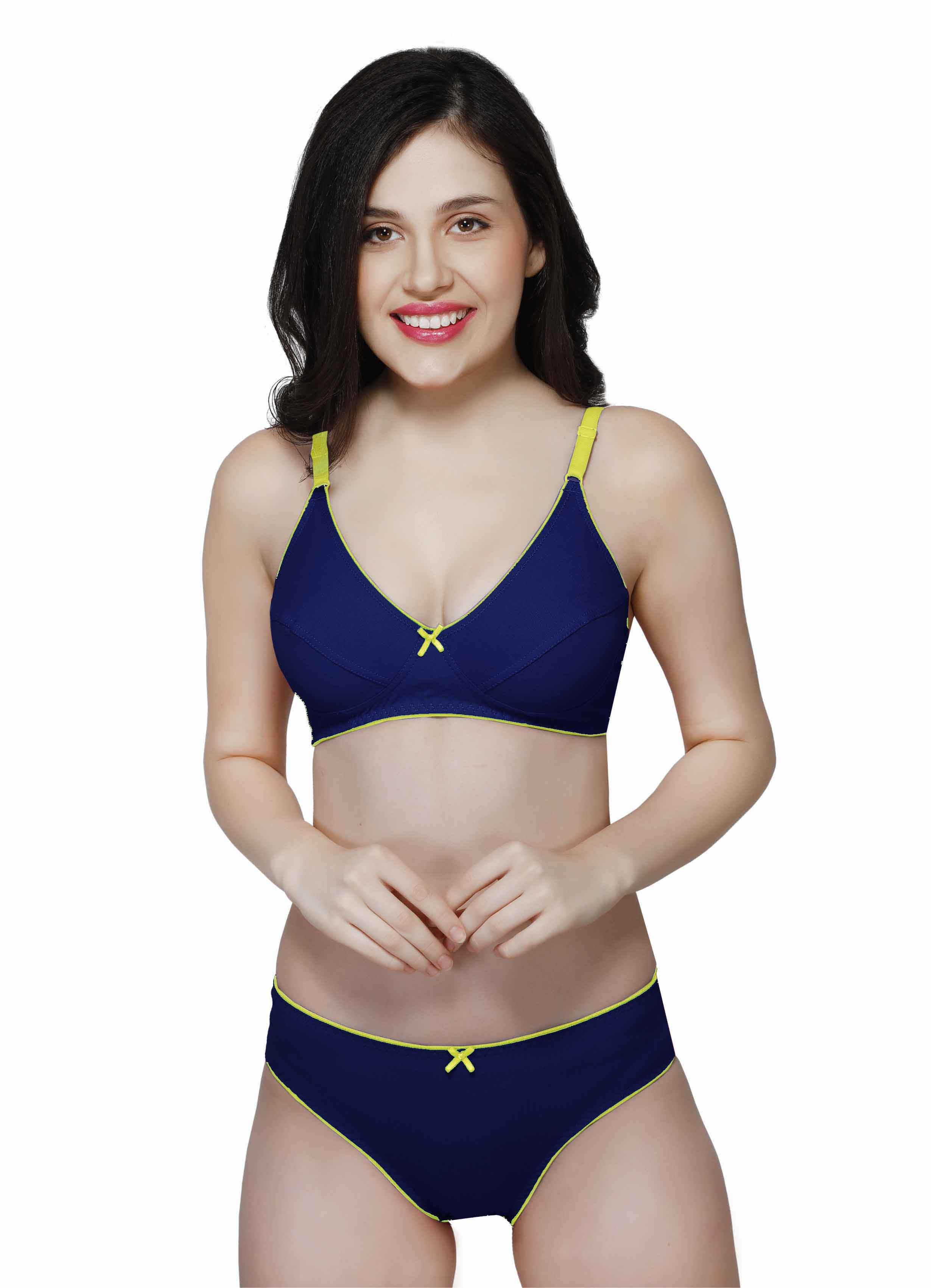 Wirefree Everyday Bra with Co-ordinated Panty-KS009-Navy Blue