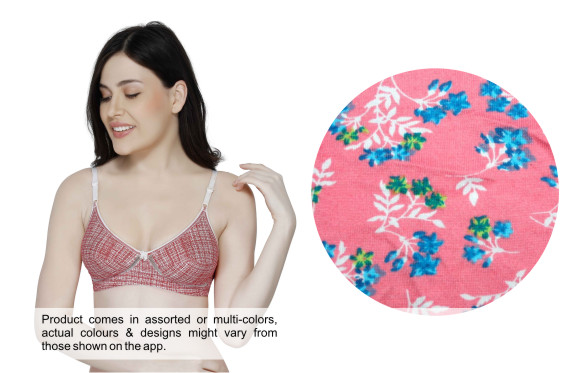 Printed Cotton Wirefree Cut and Sew Bra-KS006-Pink