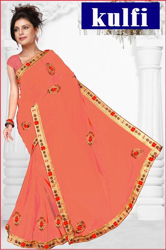 WOMEN SAREE WITH BLOUSE-PEACH-DF KULFI 2019