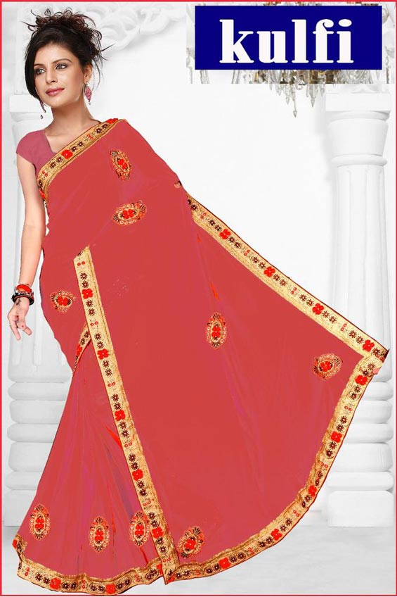 WOMEN SAREE WITH BLOUSE-PINK-DF KULFI 2019