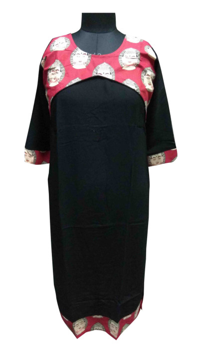 KALAMKARI DNO 3501-BLACK/RED RAYON FULL SLEEVES KURTI