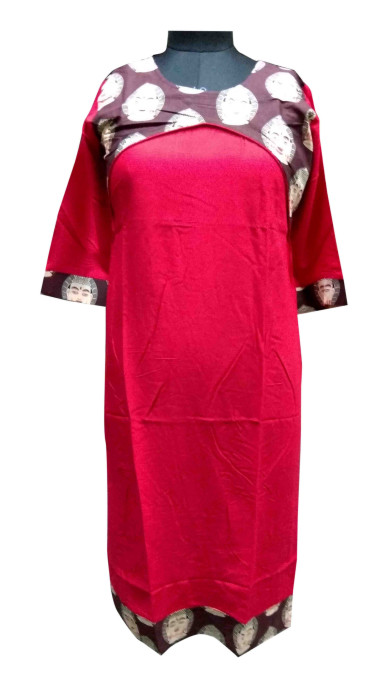KALAMKARI DNO 3501-RED/MAHROON RAYON FULL SLEEVES KURTI
