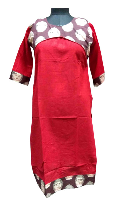 KALAMKARI DNO 4501-RED/BROWN COTTON SLUB WITH FULL SLEEVES  KURTI