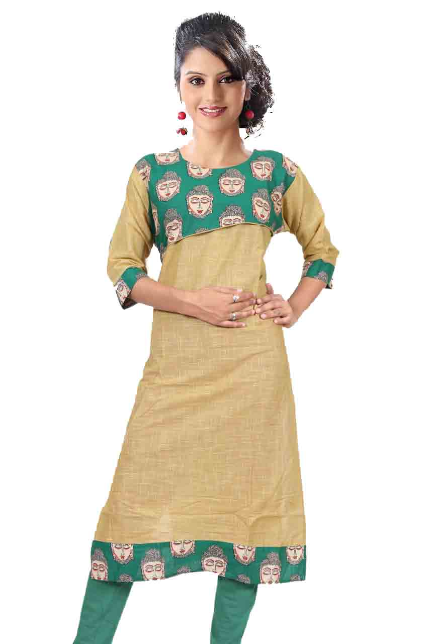 KALAMKARI DNO 4503-BEIGE COTTON SLUB WITH FULL SLEEVES  KURTI