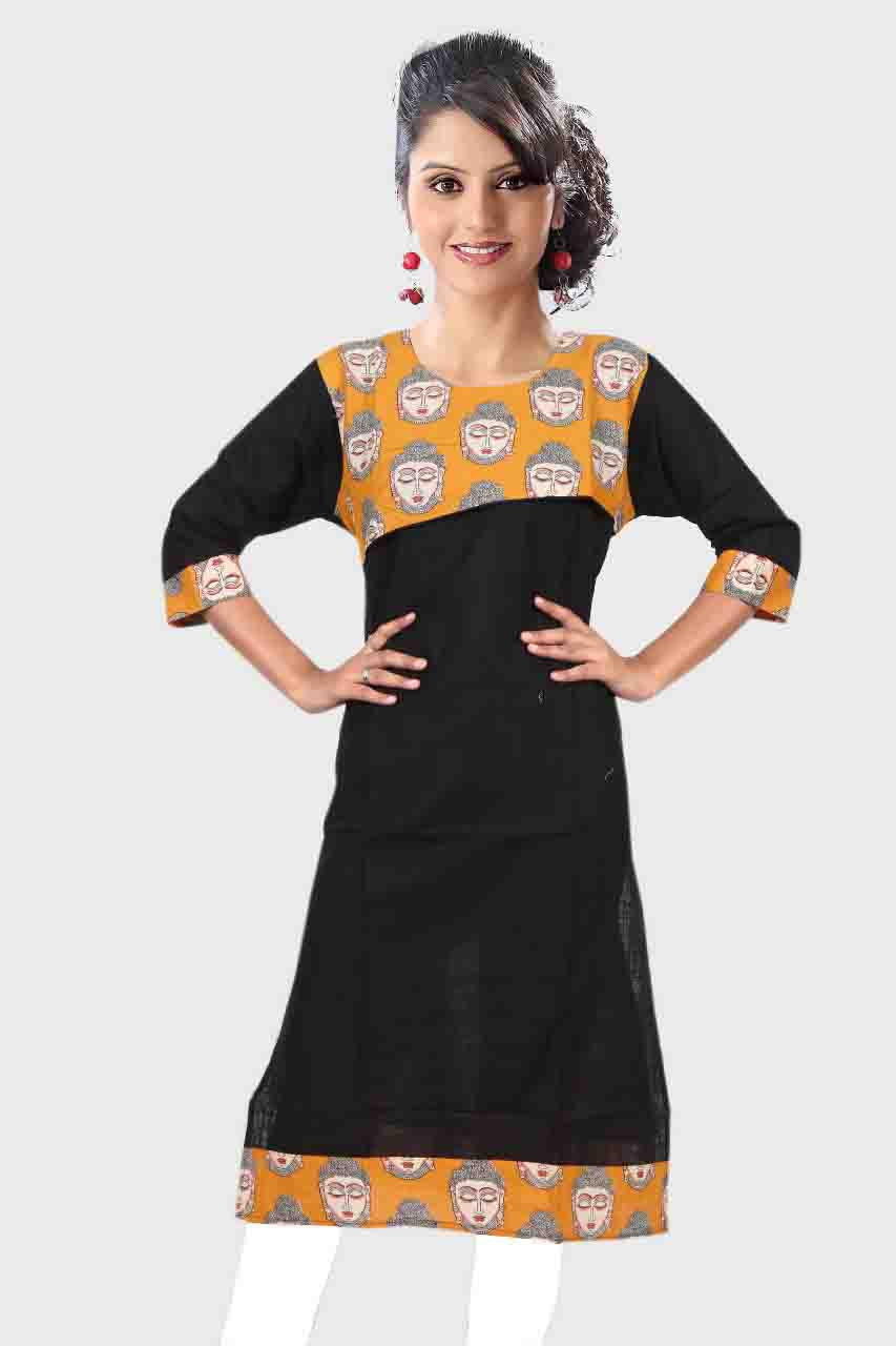 KALAMKARI DNO 4503-BLACK COTTON SLUB WITH FULL SLEEVES  KURTI