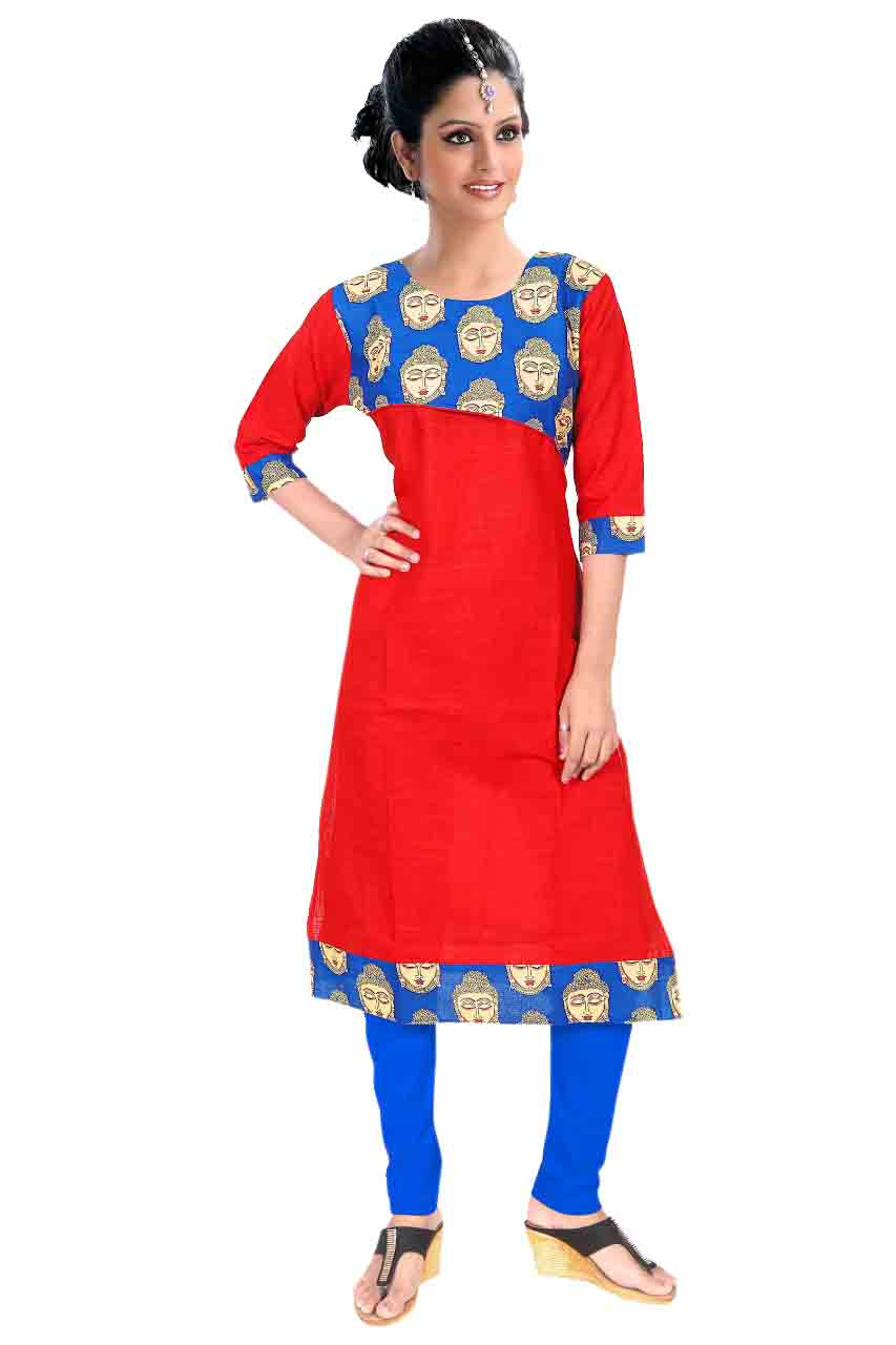 KALAMKARI DNO 4503-RED   COTTON SLUB WITH FULL SLEEVES  KURTI