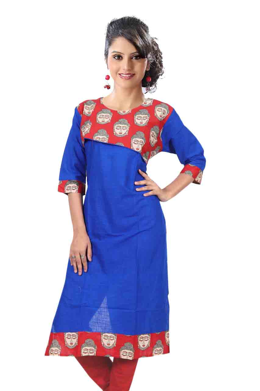 KALAMKARI DNO 4503-ROYAL BLUE COTTON SLUB WITH FULL SLEEVES  KURTI