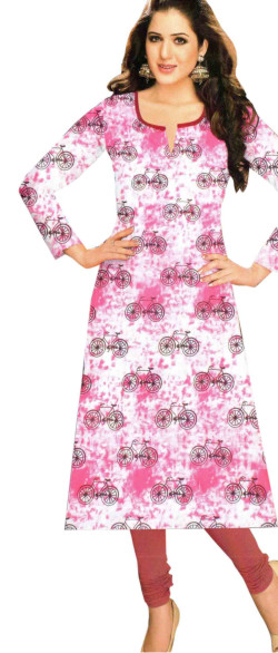SUF KHUSHI-PINK STYLISH COTTON PRINT KURTI