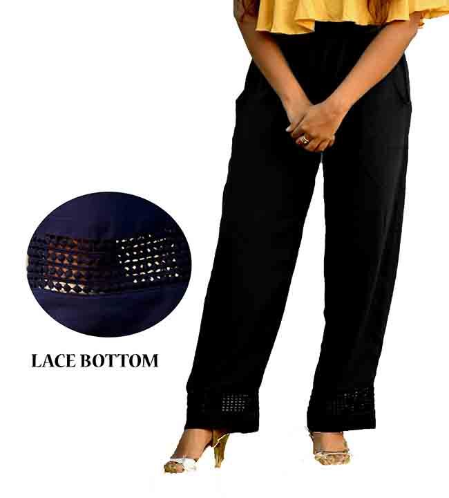 KUSH FANCY 01-BLACK WOMEN LACE PALAZO