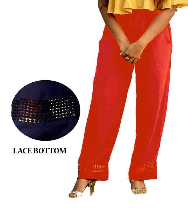KUSH FANCY 01-RED WOMEN LACE PALAZO