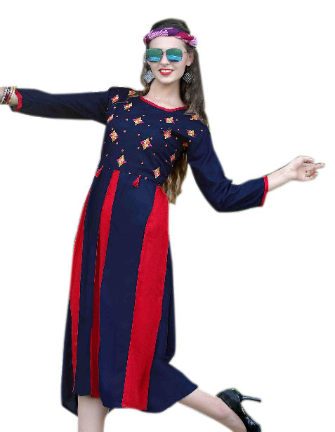 SMC MADHURI 01-D NO 1 FULL SLEEVES RAYON KURTI